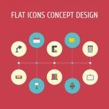 Lettre plate d'icônes, fauteuil, panier de déchets et d'autres éléments de vecteur L'ensemble de symboles plats d'icônes d'espace Photographie stock