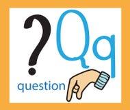 lettre q de bande dessinée alphabet anglais créateur Concept d'ABC Langue des signes et alphabet illustration libre de droits