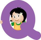 Lettre Q (fille) d'alphabet Photographie stock libre de droits