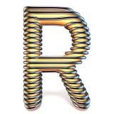 Lettre R de jaune orange dans la cage 3D en métal Photographie stock libre de droits