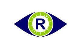 Lettre R de solutions de soin d'oeil Photographie stock