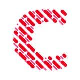 Lettre rayée C d'alphabet latin Hachure de la police illustration de vecteur