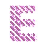Lettre rayée E d'alphabet latin Hachure de la police illustration stock