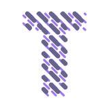Lettre rayée T d'alphabet latin Hachure de la police illustration stock
