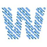 Lettre rayée W d'alphabet latin Hachure de la police illustration libre de droits
