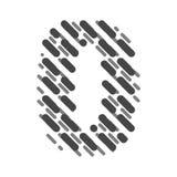 Lettre rayée zéro d'alphabet latin Hachure de la police illustration libre de droits
