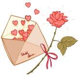 Lettre remplie de coeurs et de rose Photo stock