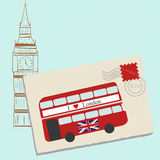 Lettre romantique vers Londres illustration libre de droits