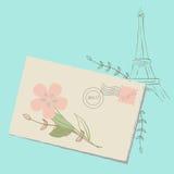 Lettre romantique vers Paris illustration de vecteur