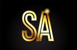 lettre SA s d'alphabet d'or une conception d'icône de combinaison de logo Image stock