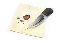 Lettre scellée par cire avec la cannette Images libres de droits