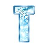 Lettre T d'alphabet de l'hiver Photos libres de droits