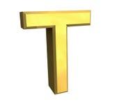 Lettre T de l'or 3d Photographie stock