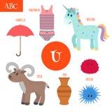Lettre U Alphabet de bande dessinée pour des enfants Licorne, parapluie, urne, Image libre de droits