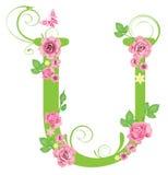 Lettre U avec des roses Photographie stock