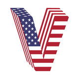 Lettre V d'alphabet latin du drapeau 3d des Etats-Unis Police texturisée Images stock