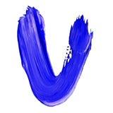 Lettre V tiré avec les peintures bleues Illustration Stock