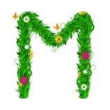 Lettre verte d'eco avec des feuilles et des fleurs Vecteur plat Photos stock