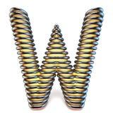 Lettre W de jaune orange dans la cage 3D en métal Images libres de droits