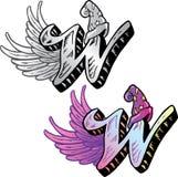 Lettre W de type de tatouage Images libres de droits