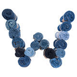 Lettre W faite de petit pain de jeans Image libre de droits