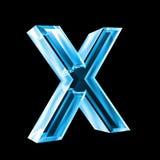 Lettre X en glace bleue 3D Photographie stock libre de droits
