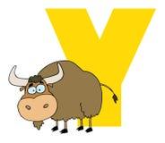 Lettre y avec un yak Image libre de droits