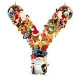 lettre y de décoration de Noël Photos libres de droits