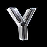 Lettre Y en glace 3D Photographie stock