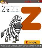 Lettre z avec le zèbre de bande dessinée Photo libre de droits