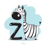 Lettre Z avec le zèbre drôle Images stock