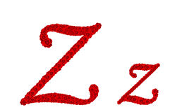 Lettre Z et z d'alphabet faits à partir des fleurs de rose de rouge d'isolement sur le fond blanc Photos libres de droits