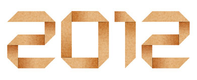 Lettres 2012 d'alphabet d'Origami d'an de carton Photo stock