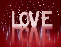 Lettres actuelles de Saint Valentin je t'aime avec le fond rouge Image stock