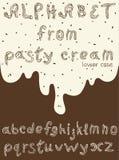 Lettres anglaises minuscules de crème de pâtisserie Photographie stock libre de droits