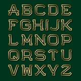 Lettres angulaires creuses d'or avec l'ombre Rétro police de mode Images libres de droits