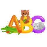 Lettres animales d'ABC pour l'éducation d'alphabet d'enfants d'école ou de jardin d'enfants Images stock