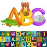 Lettres animales d'ABC pour l'éducation d'alphabet d'enfants d'école ou de jardin d'enfants illustration de vecteur