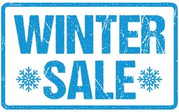 Lettres approximatives de joint bleu de vente d'hiver d'isolement sur le blanc Tampon en caoutchouc grunge d'encre rouge illustration de vecteur