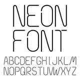 Lettres au néon noires, alphabet Photo stock
