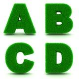 Lettres A, B, C, D 3d de l'herbe verte - ensemble Images libres de droits