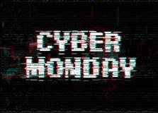 Lettres blanches de vecteur d'effet de problème Calibre de bannière de lundi de Cyber Texte d'effet de déformation de Digital Éti Image stock