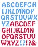 Lettres bleues et rouges de style de clochard Image stock