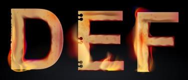 Lettres brûlantes de DEF, alphabet brûlant Images stock