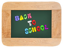 Lettres colorées avec de nouveau à l'école Photographie stock libre de droits