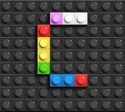 Lettres colorées C d'alphabet des briques de lego de bâtiment sur le fond noir de brique de lego Fond de Lego lettres 3D illustration de vecteur