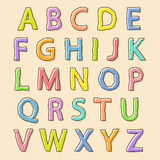 Lettres colorées d'alphabet avec le contour gonflé Images stock