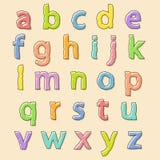 Lettres colorées d'alphabet avec le contour gonflé Images libres de droits