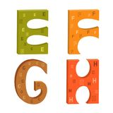 Lettres colorées de l'alphabet latin E, F, G, H illustration stock