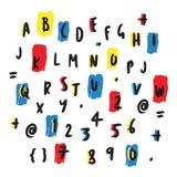 Lettres colorées et conception tirée par la main de nombres illustration de vecteur